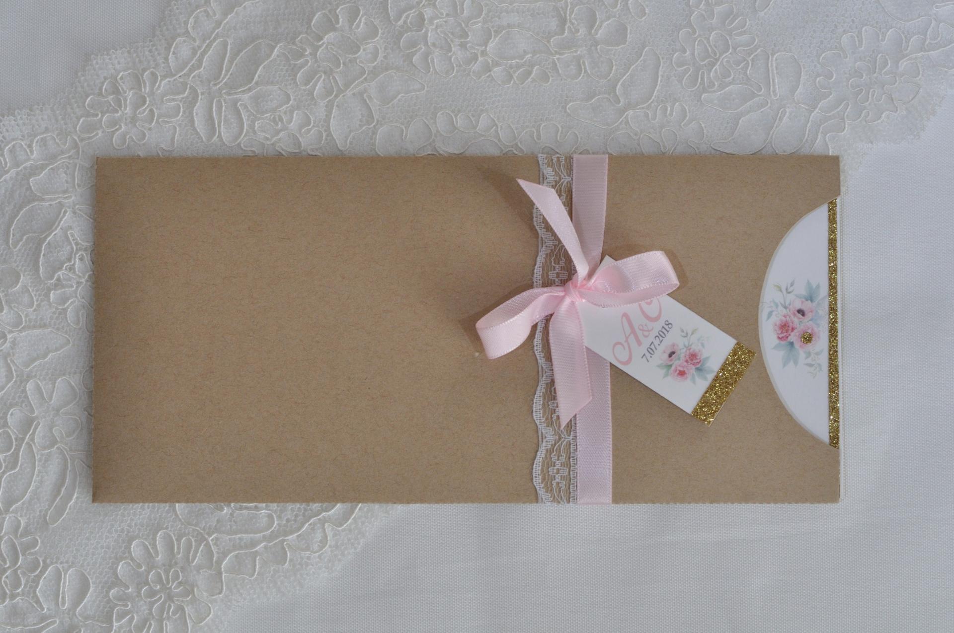 Pochette champêtre, rose, menthe et touche gold