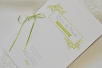 Livret cérémonie vert anis & blanc