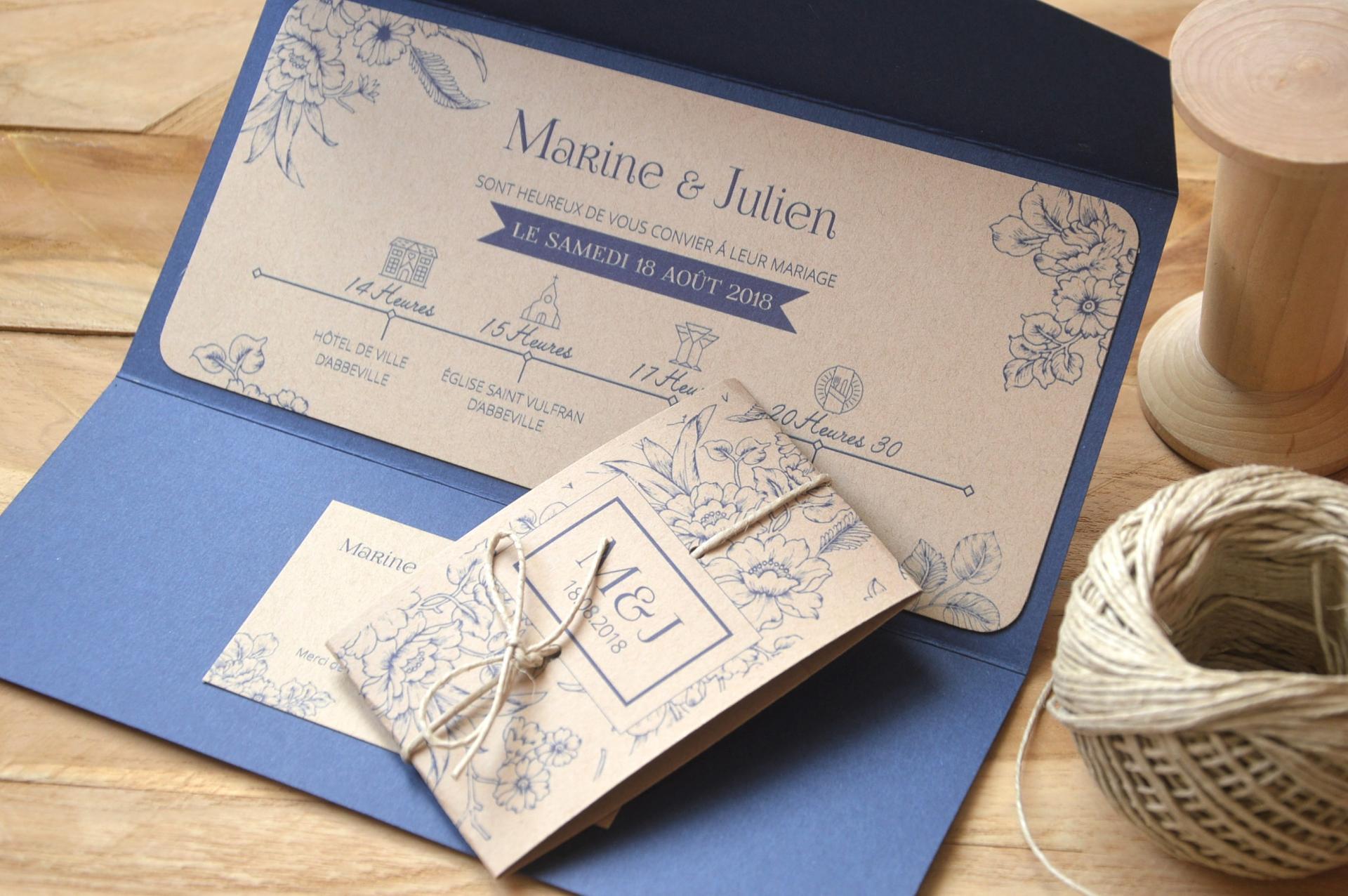 Faire-part pochette vintage _  bleu