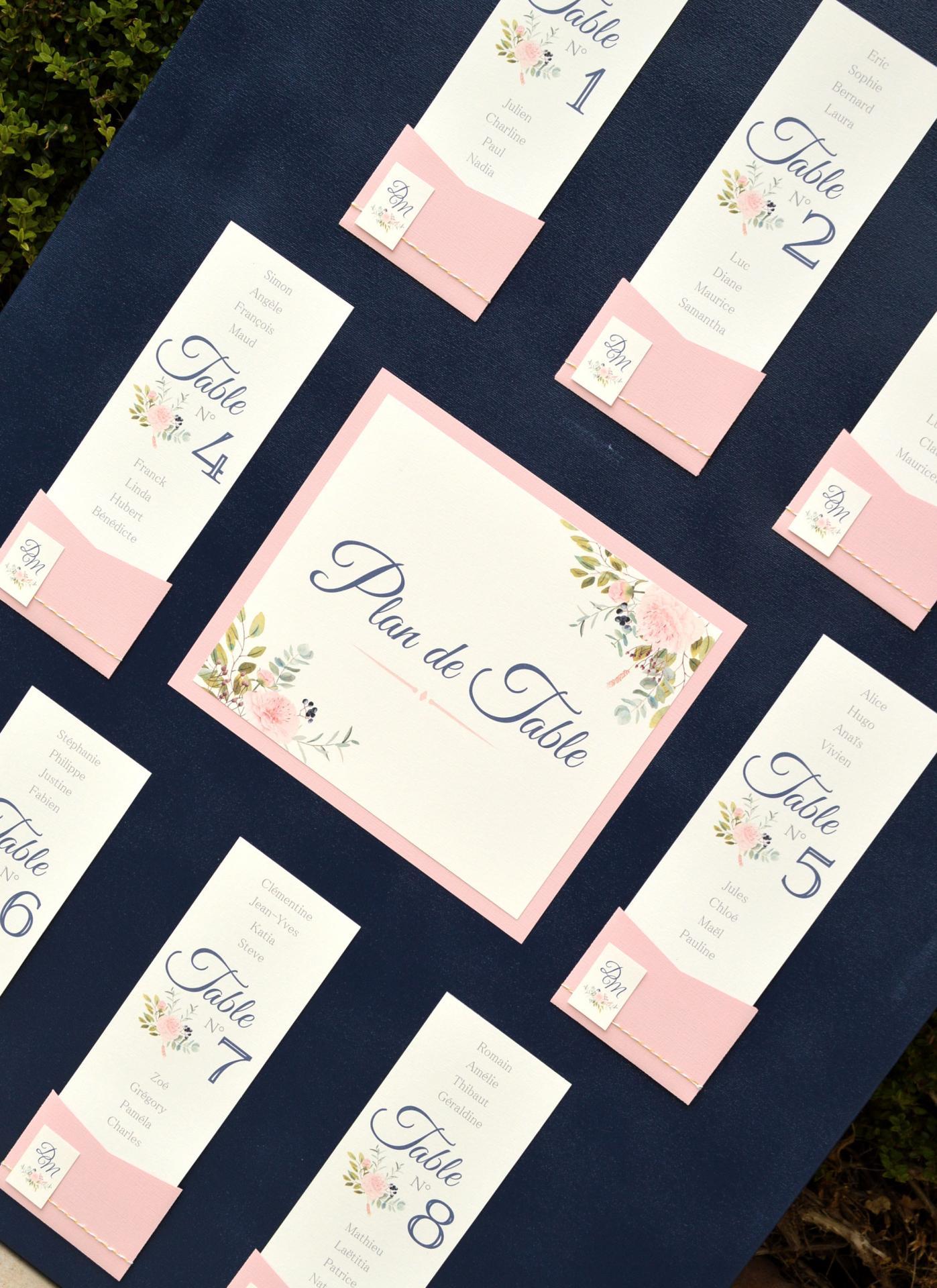 Cadre plan de table mariage